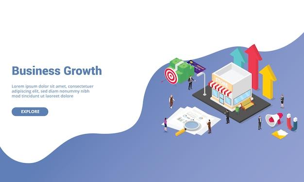 ホームページまたはアイソメ図スタイルのバナーを着陸するウェブサイトテンプレートのビジネス成長スタートアップコンセプト