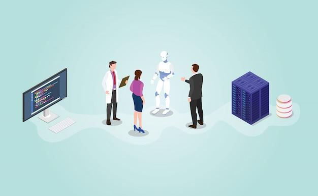 Будущий технологический робот и разработка искусственного интеллекта с изометрическим современным плоским стилем