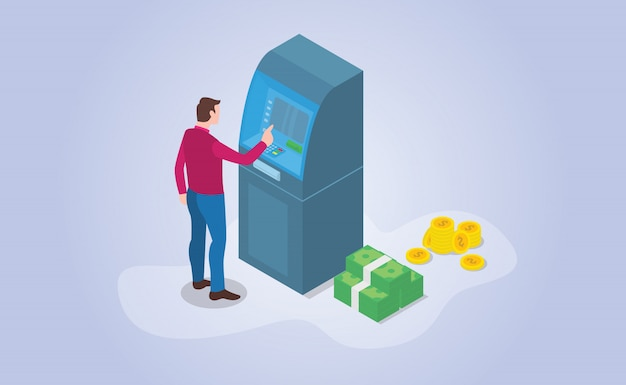 Снятие наличных в банкомате с изометрическим современным плоским стилем
