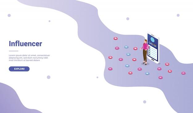 アイソメ図スタイルのウェブサイトテンプレートまたはランディングホームページのソーシャルメディアインフルエンサーマーケティングビジネス