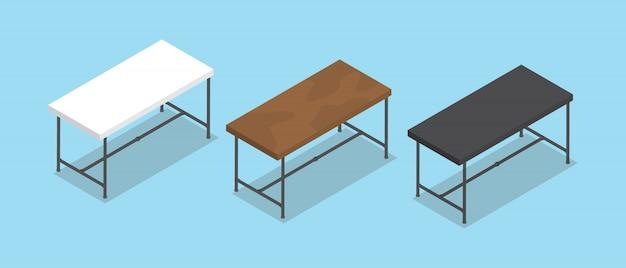フラットスタイルとアイソメトリックデスクやテーブルのコレクション