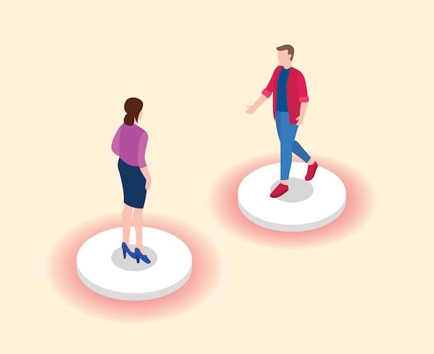Концепция социального дистанцирования или физического расстояния с двумя людьми, которые держатся на расстоянии друг от друга