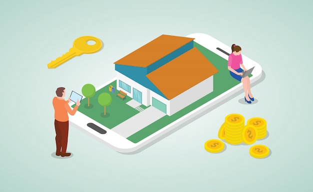 Мобильный онлайн список недвижимости для покупки и поиска концепции с людьми и в современном изометрическом стиле