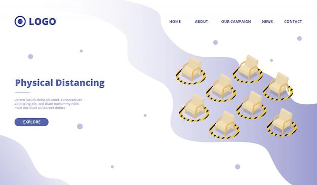 Социальное дистанцирование для стула в общественном учреждении для шаблона сайта или целевой страницы сайта