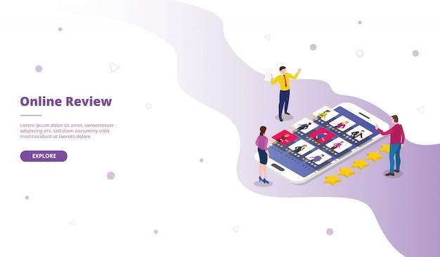 Кампания по обзору мобильного телефона для веб-сайта с шаблонной страницей, главной домашней страницей в изометрическом плоском стиле