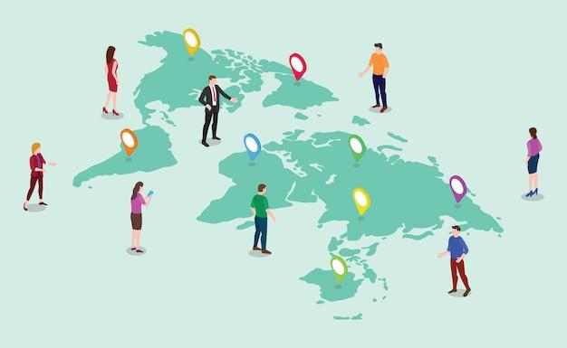 世界地図とチームの人々の男性と女性