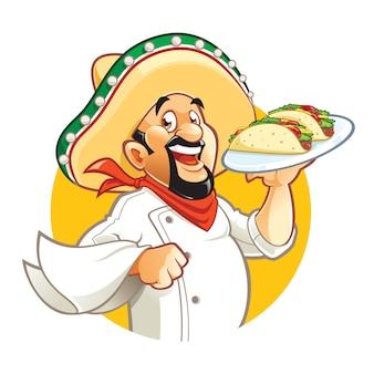 メキシコのシェフの漫画のキャラクターのタコスとプレートを保持