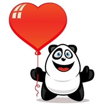 Милая панда держит воздушный шар