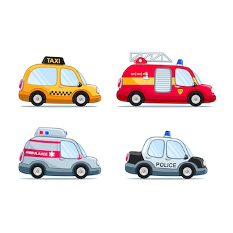Набор автомобилей в мультяшном стиле, включая пожарную машину, полицейскую машину, такси и скорую помощь