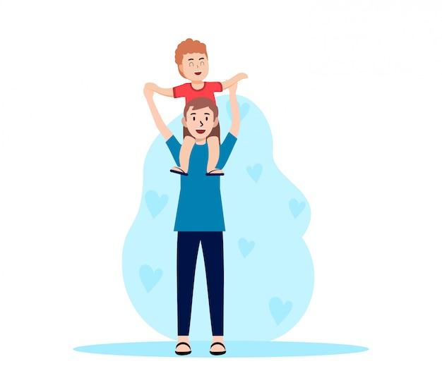 Счастливый день отцов плоской иллюстрации
