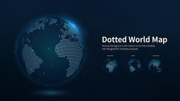 点線の世界地図の抽象的なイラスト