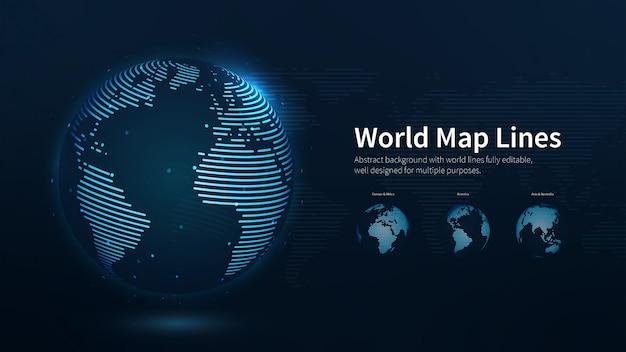世界地図の線の抽象的なイラスト