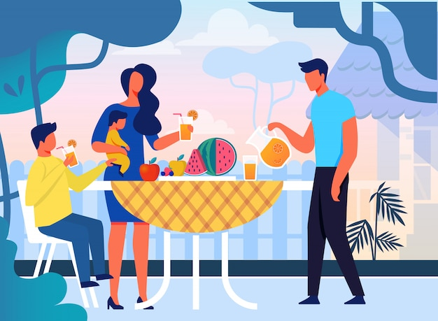 夏の家族のピクニックフラット