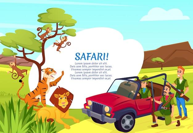 アフリカの動物を目指してジープに立っているハンター