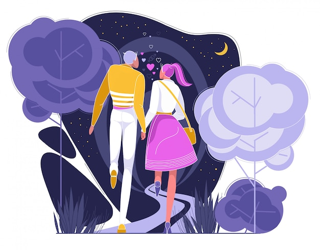 夜の公園でロマンチックなデートを持っているカップル