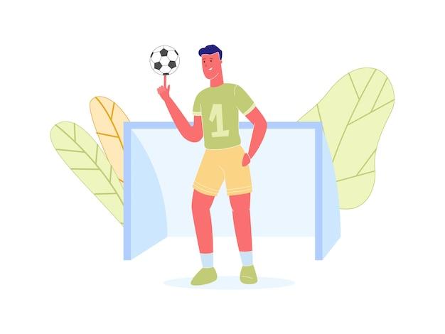 Вратарь стенд у ворот роллинг мяч на палец