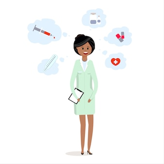 Женщина-врач в форме, медицинский персонал с таблетками