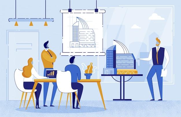 Человек архитектор показывает рисунок здания на борту