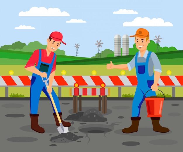 Дорожные работы на шоссе