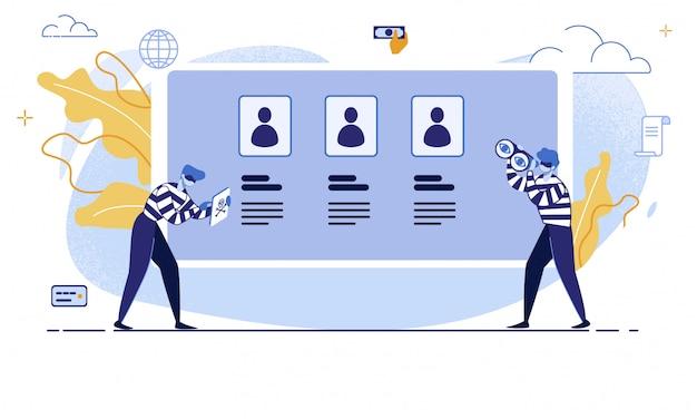 金融詐欺オンラインフラットベクトル概念