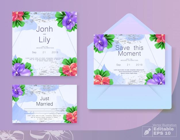 封筒と花の結婚式の招待カードセット