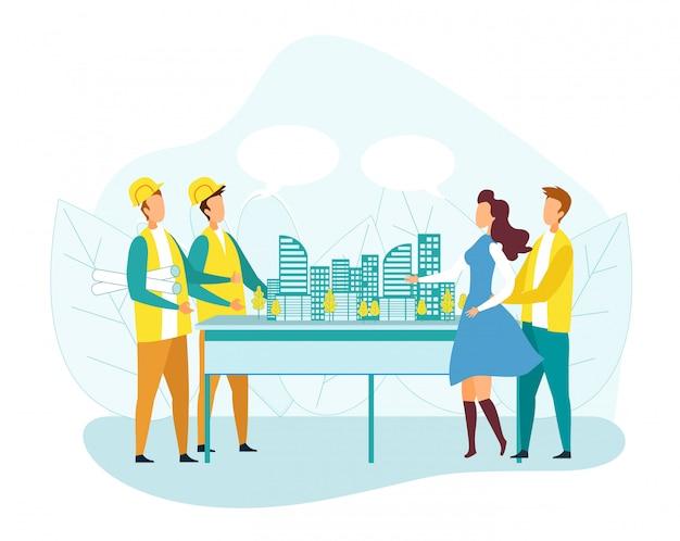 顧客男性と女性が建築会社を訪問