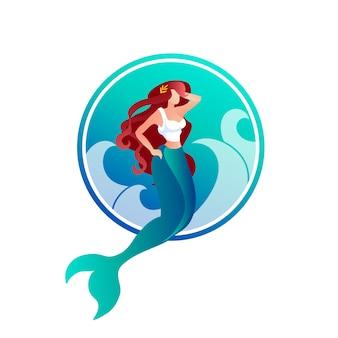 月桂冠と美しい長い髪の人魚