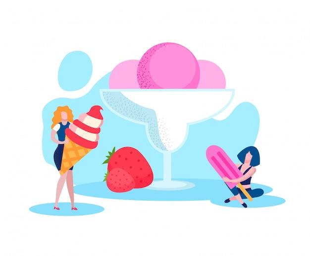 アイスクリームを持つ女性。ストロベリーアイスクリームボール。