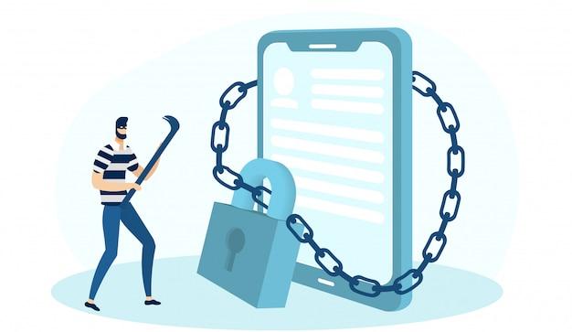 携帯電話のロックを解除する強盗持株クローバー。