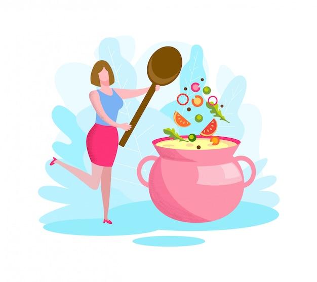 ピンクのパンでスープを調理する手でスプーンを持つ女性。