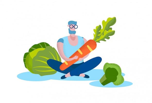 Человек с морковью возле капусты и брокколи. вектор.