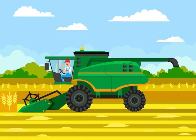 小麦収穫フラットベクトルカラーイラスト