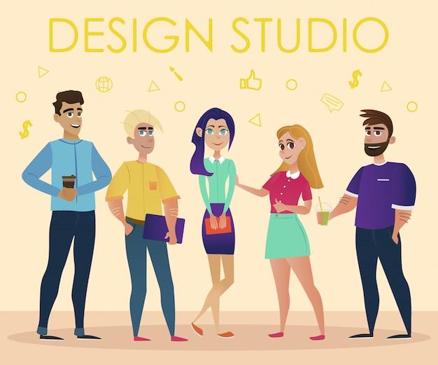 Команда дизайнеров на бежевом фоне. студия дизайна.