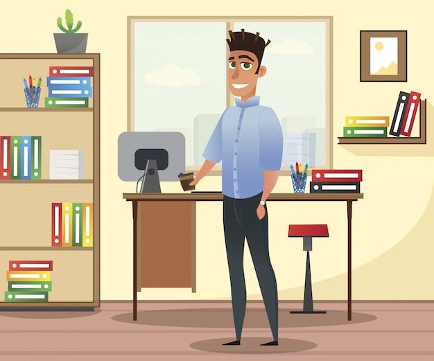 オフィスのインテリアに青いシャツを着た男の笑みを浮かべてください。