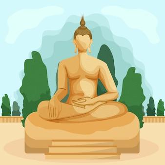 背景の木に蓮華座の仏像