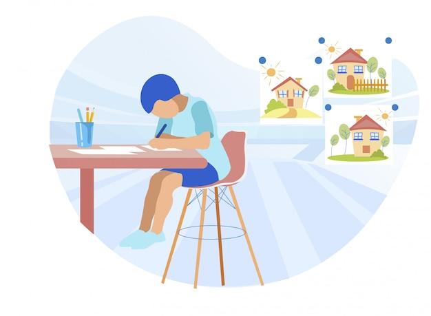 Занят маленький мальчик рисунок с энтузиазмом в домашних условиях
