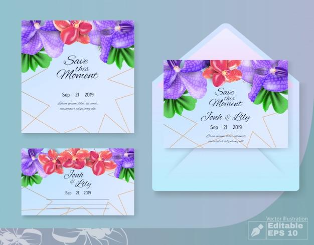 花のデザインでこの瞬間の結婚式セットを保存