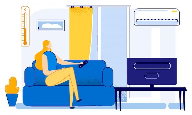 Яркий постер кондиционер в летней квартире.