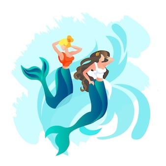 サイレンまたは人魚の娘オリンパス神ポセイドン