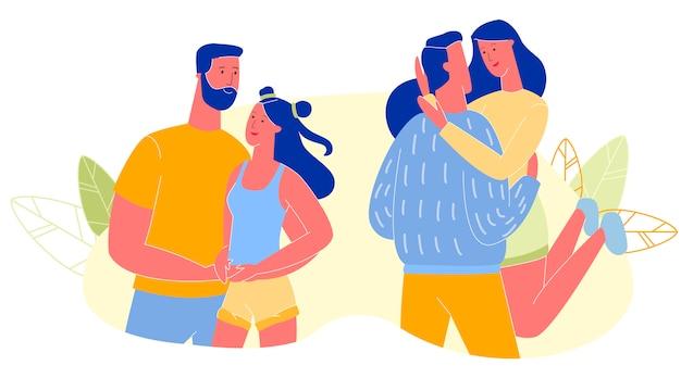 Счастливый молодой мужчина и женщина проводят время вместе