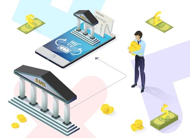 銀行カード用の明るいポスターサービスアプリケーション。