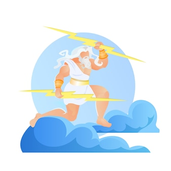 Зевс громовержец с молниями в руках, юпитер
