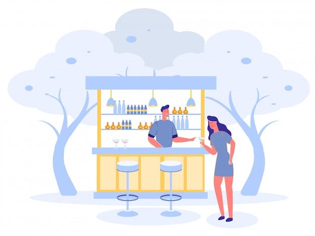 Открытый бар с девушкой угощает напитками