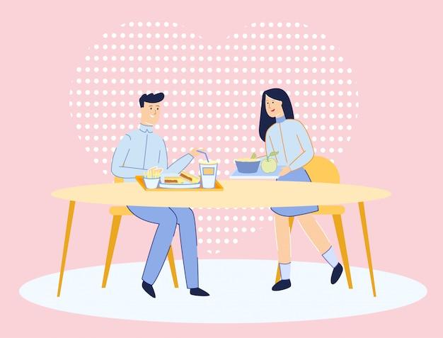 学校または大学生は学校の食堂でデートします。