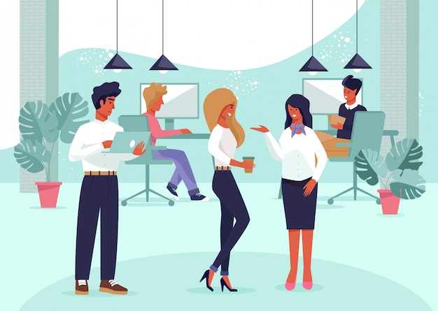 オフィスの人々、職場のビジネスチーム