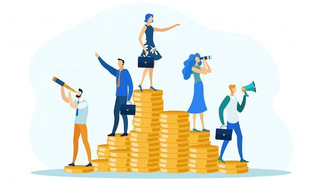 お金の山に立っている人々、財務監査。