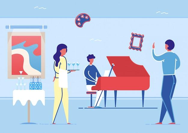 ビュッフェ、アートギャラリーホールでピアノを弾くアーティスト。