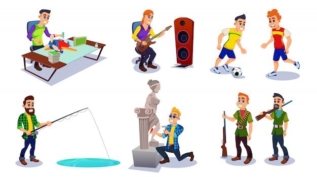 さまざまな趣味のフラットをしようとしている男性キャラクター。