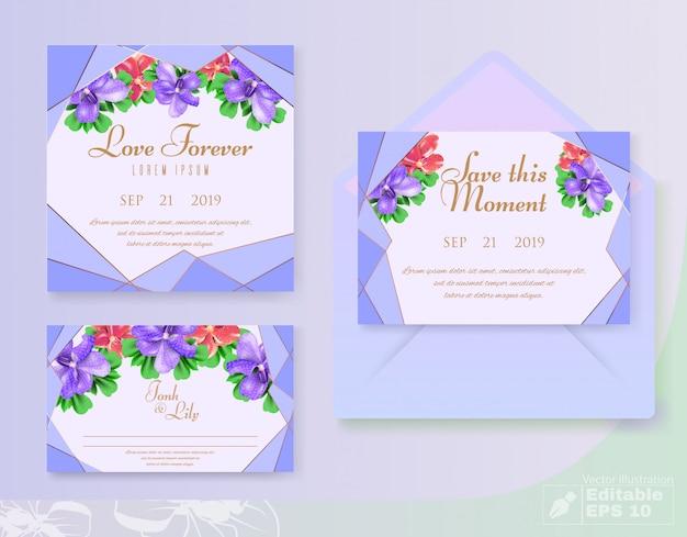 結婚式に設定された花の装飾的な招待カード