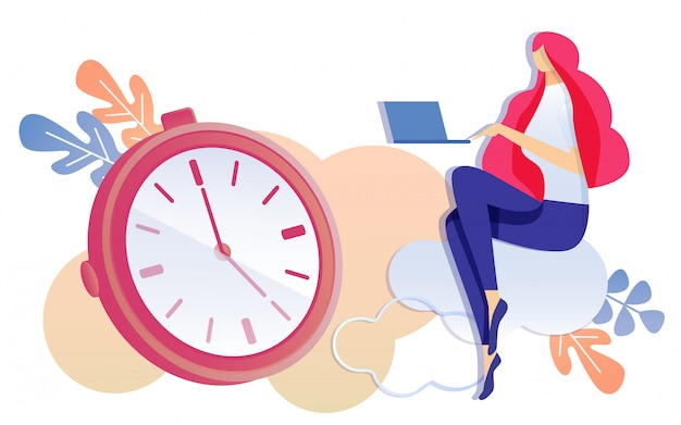 労働時間管理コンセプト女性従業員
